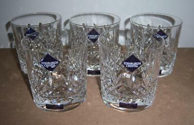 5 x LARGE EDINBURGH CRYSTAL KENMORE OLD FASHIONED TUMBLERS (Signed with labels)