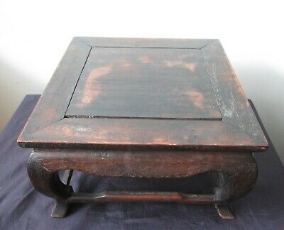 Antique SIGNED 19th century Chinese QING DYNASTY Wood display Stand for VASE