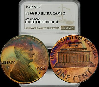 Rare Rd Color 1982-S Lincoln  Memorial Cent Toned Ngc Graded Pf68 Rd Ultra Cameo