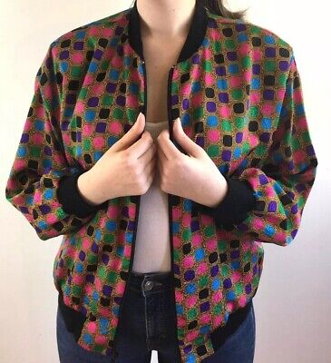 Womens Vintage 80s Jacket Multicoloured Patterned Bomber Zipper Top Silky Look M