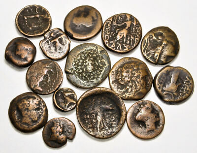 Group of 15 Ancient Greek Bronze Coins (01)