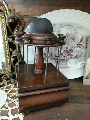 Antique Vintage Wood Sewing Notion Thread Spool Holder & Pin Cushion with Drawer