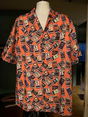 NWOT Detroit Tigers Mens Camp Button Ticket Stub Print Shirt Multicolor Sz 2XL!!