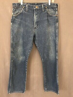 18734418 Vintage '70s Distressed Wrangler Denim Blue Jeans Men's Size 38 x 29 Made  In USA