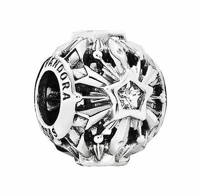 New Authentic PANDORA Silver Disney Frozen Snowflakes Charm 791563CZ