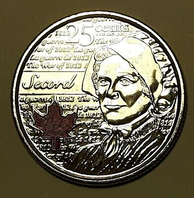 2013 CANADA 25 Cent LAURA SECORD Coloured  BU Coin From Mint Roll UNC