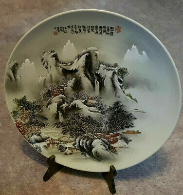 Chinese Hand Painted plate Large Mountain snow scenery as new no chips has stand