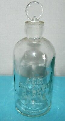 """Vtg~ACID SULFURIC~H2SO4~Embossed~8"""" Apothecary Bottle~Glass Stopper~WHEATON~Lab"""