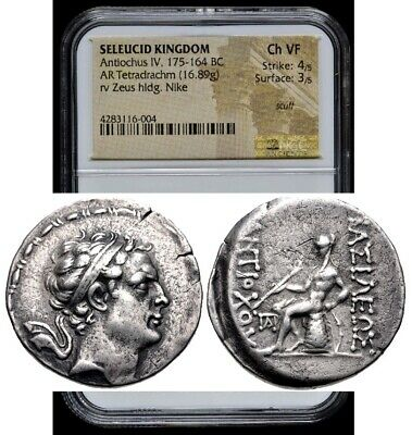 Ancient Greek Seleucid Kingdom Antiochus IV 175-164 BC AR Tetradrachm NGC Ch VF