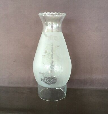 "Glass Oil Lamp Chimney Crimp Top with Etching - 75mm or 3"" Base, 205mm high"