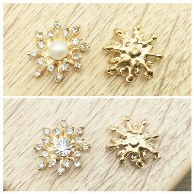 DIY 10Pcs Rhinestone Pearl Flower Flatback Craft Girls Hair Bow Embellishment