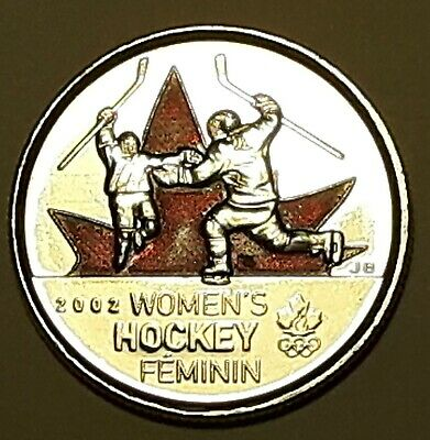 2009 CANADA 25 Cent Women's Hockey Coloured BU Quarter From Mint Roll UNC