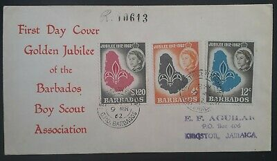 1962 Barbados Golden Jubilee of Boy Scouts in Barbados Registd FDC ties 3 stamps