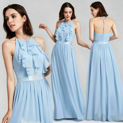 55c2c63cf74 Ever-Pretty Women Long Evening Dresses Halter Chiffon Blue Prom Party Gown  07201