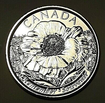 2015 CANADA 25 Cent Poppy 'REMEMBER' BU Quarter No Colour From Mint Roll UNC