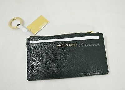 NWT Michael Kors Money Pieces Large Slim Leather Card Case in Racing Green