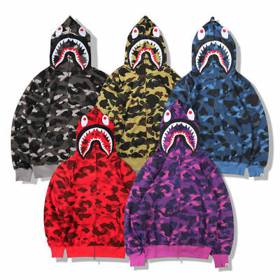 6fc98bcb0 JAPAN MENS SHARK Jaw Coat Hoodies A Bathing ape Leather Jacket Black ...