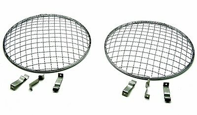 "Holden 1959-79 7"" Flat & Curved Headlight Cover Stone Guard Stainless Mesh Pair"