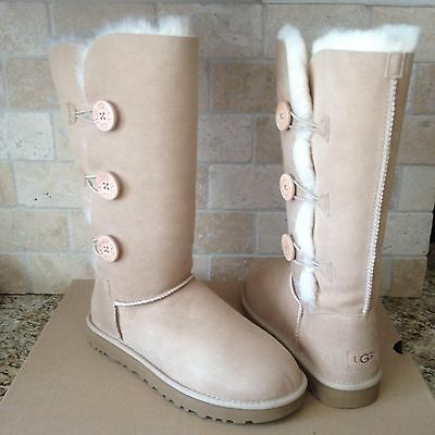 c99e5606492 UGG BAILEY BUTTON Triplet Triple Ii Sand Suede Tall Boots Size Us 11 Womens  Nib