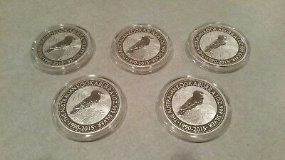 Lot of Five (5) 2015 1oz Australia Kookaburra 25th Anniversary .999 Silver Coins