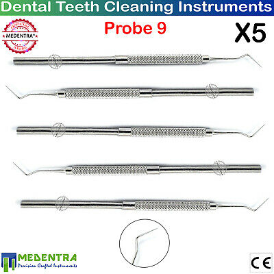 Dental Probe No. 9 Single Ended Probes Diagnostic Dentists Tooth Tartar Scraper