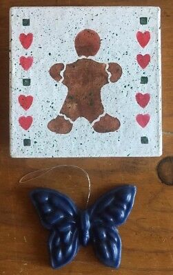 Gingerbread Man Painted Wooden Box With Wax Butterfly Christmas Ornament