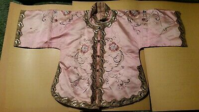 Fine Antique Republic Period Chinese Childs Silk Embroidery Robe  Embroidered