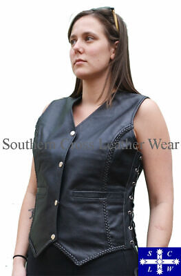 Ladies Leather Braided Vest Size: 8-20 - CLOSING DOWN SALE