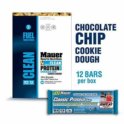 Mauer Sports Nutrition Classic Protein Bar Chocolate Chip Cookie Dough, 12 Count