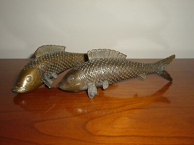 Vintage Pair Of Oriental Brass Carp Sculptures/butterfly Character Marks To Base