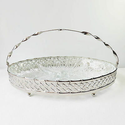 Vintage Silverplate Serving Tray Food Basket Dish, Divided Glass Section Insert