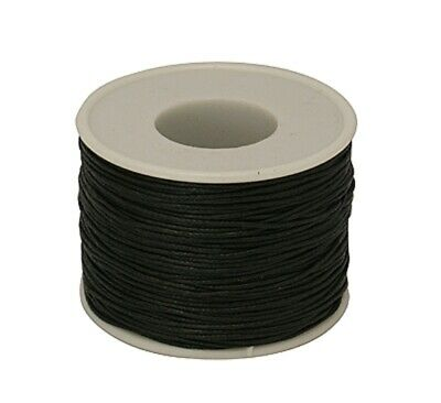 1-10M Black Cotton Waxed Cord Thread  Necklace Bracelet Jewellery Beading String