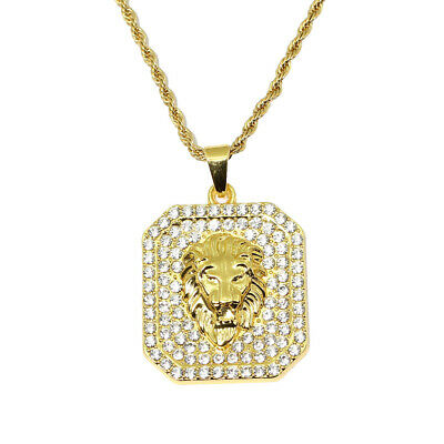 Full CZ Hop Hop Iced Out Lion Pendant Necklace Jewelry Gift with 60cm Chain
