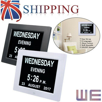 New Digital Clock Calendar Alarms Memory Loss Dementia Elderly Large Date Time