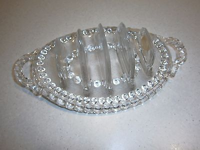 Vintage Sowerby 1870 Clear Glass Toast Rack - With Peacock Mark - 1 June 1870