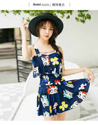 Cute Woman Beach swimwear padded bra cartoon girl  printed strap SwimDRESS  8851