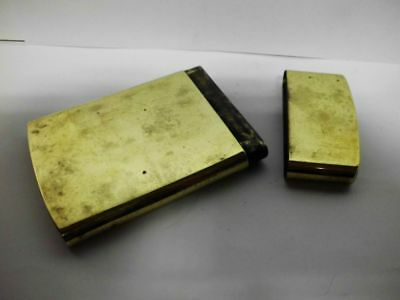 vintage Messing Visitenkarten-Etui-Dose / vintage brass business card case