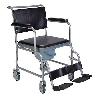 Mobile wheeled glideabout commode chair wheelchair with padded seat and brakes