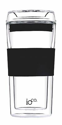 ioco 12oz Glass Coffee/Tea eco reusable takeaway mug cup keep Glass lid - Black