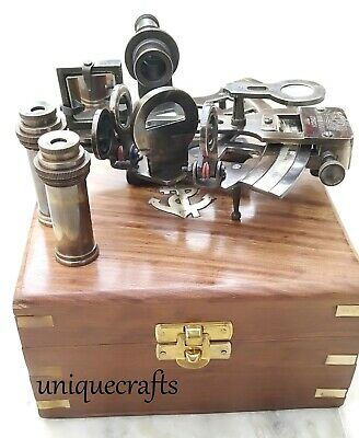 ANTIQUE  STYLE BRASS SEXTANT ~W/ WOODEN BOX (Kelvin & Hughes London 1917) GIFT.