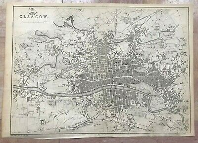 SCOTLAND PLAN OF GLASGOW 1863 by E WELLER LARGE DETAILED ANTIQUE MAP
