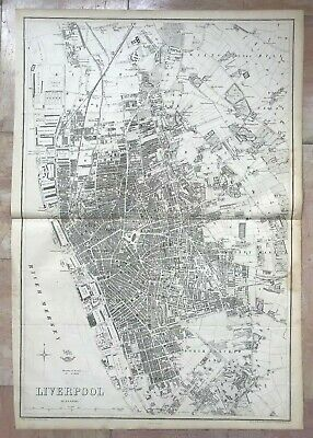 ENGLAND PLAN OF LIVERPOOL 1863 by B R DAVIES VERY LARGE DETAILED ANTIQUE MAP