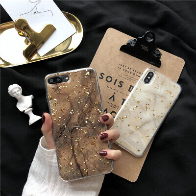 Luxury Epoxy Gold Foil Marble Phone Case For iPhone XR 7 Plus XS Max Shockproof