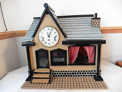 WIND-UP EMPEROR CLOCK UNIQUE Hand made WOODEN HOUSE with Miniature MONA LISA