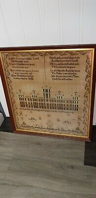 "Large 25""×24"" Framed 1811 Country Scene Temple Solomon  Sampler By Ann Thompson"