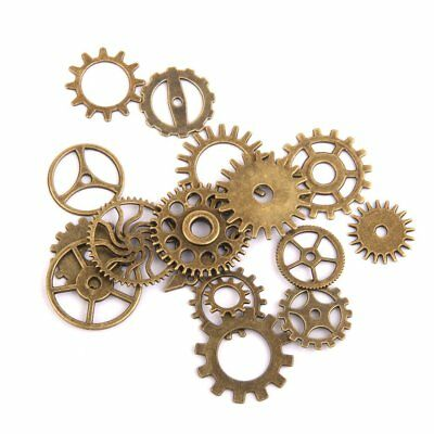 17pcs Charm Steampunk Gear Bikes Pendant With Necklace Charm Findings G8S9