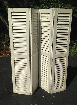 """2 PAIRS Vtg WOOD SHUTTERS Louver 61"""" Shop Display Divider Screen Antique Wedding"""