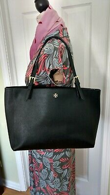 a4f31b78acb Tory Burch Large York Buckle Tote in Black Saffiano Leather Authentic 298  Retail