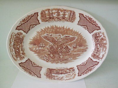 "Alfred Meakin Fair Winds Brown - 15"" Large Oval Platter - Staffordshire England"