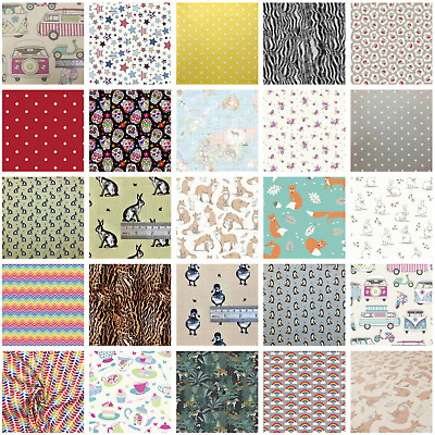 100% Cotton Fabric - 20+ Designs Foxes, Hares, Polka Dot- Fat Quarters or Metres